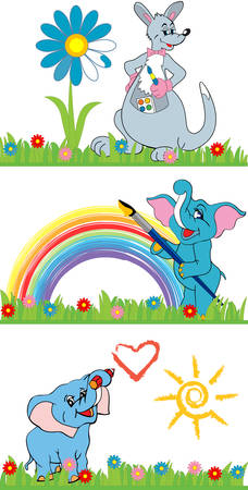 large group of animals: Pretty cute cartoon animals paint in bright colors