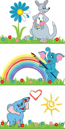 cute cartoon animals: Pretty cute cartoon animals paint in bright colors