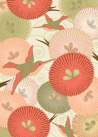 Ornamental pattern with birds and flowers in Japanese style