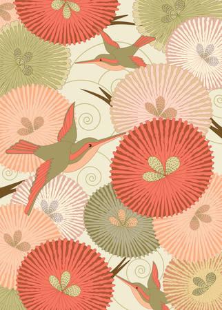 paloma caricatura: Patr�n con las aves ornamentales y flores de estilo japon�s