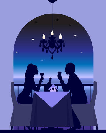 An elegant couple enjoying a romantic dinner date   Vector