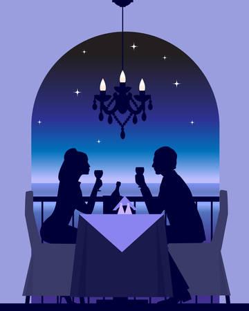 Una pareja de elegantes disfrutar una cena romántica