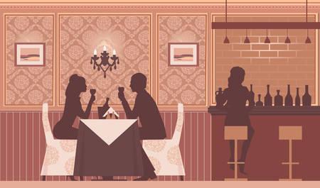 heterosexual: una pareja feliz que data de beber vino