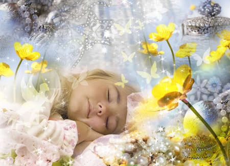 im: Sweet dreams of a little girl. ( Im author of all components of this collage). Stock Photo