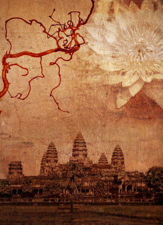 Medieval temple Angkor Wat, Cambodia. (Im author of all components of this collage)