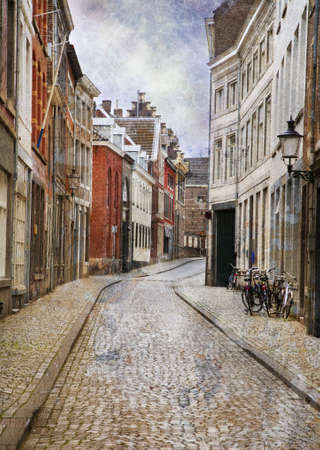 gravel roads: Streets of Maastricht, Netherlands. Made in artistic vintage style