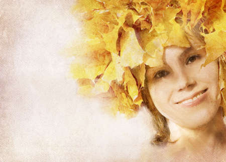 Watercolor portrait of a autumn girl. See other pics of season girls photo