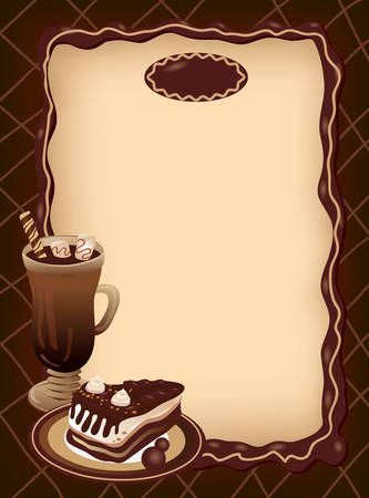 Empty blank of menu. Coffee theme. Ready for the text of your choice.  Illustration