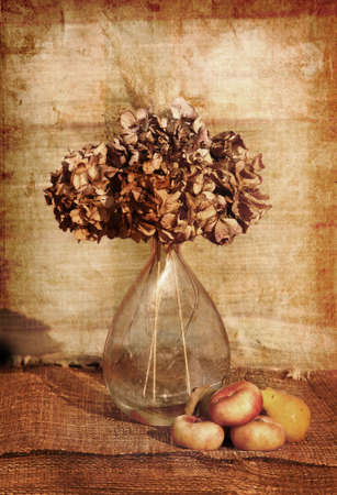 still life of a flowers in a glass vase photo