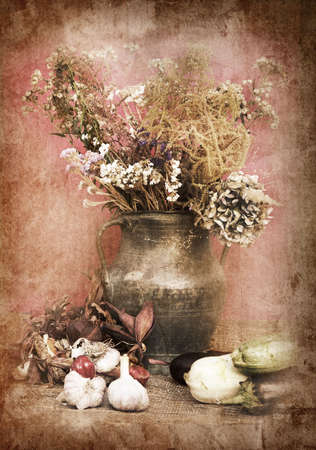 still life of a flowers in a vase with vegetables Stock Photo - 7641523