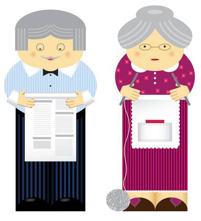 illustration of family theme. Grandparents Vector