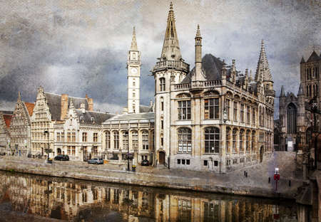 The historical center of Ghent city, Belgium