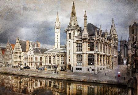 belgium: The historical center of Ghent city, Belgium