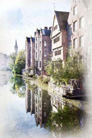 Ghent canals, Belgium. Artistic watercolor style with texture