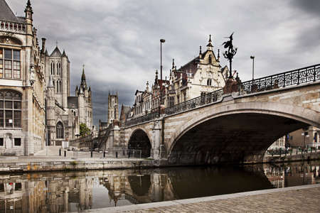 The historical city core of Ghent, Belgium photo