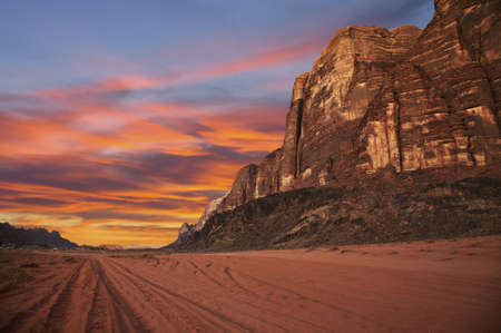 wadi: Mountains during sunset in Wadi Rum, Jordan