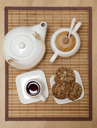 table top view: Tea set on a tray with a view from above