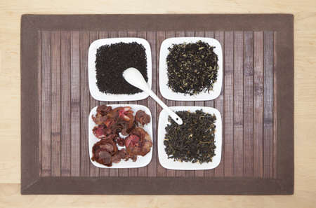 topdown: Top-down view of four different sorts of tea