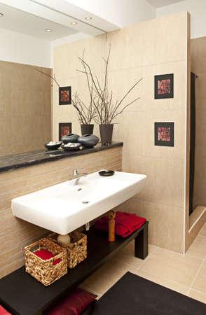 toilet sink: Tiro interior de una sala de ba�o moderno