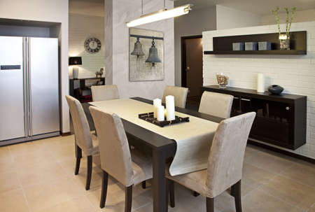 dining table and chairs: Interior shot of a modern dining room