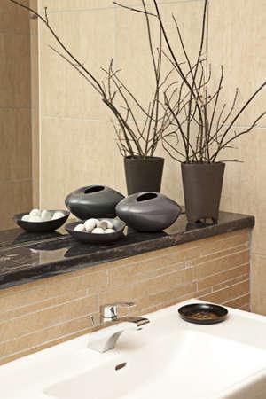 Interior shot of a modern bath room   Stock Photo