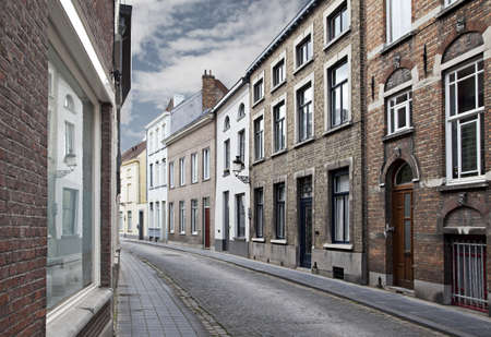 residential street: Cityscape of Bruges streets, Belgium.
