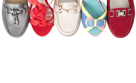 fashion shoes: Collection female shoes over white with copy space  Stock Photo