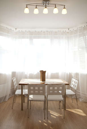 Inter of a dining room in sunlight