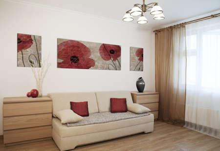 living room interior: Interior shot of a modern living room