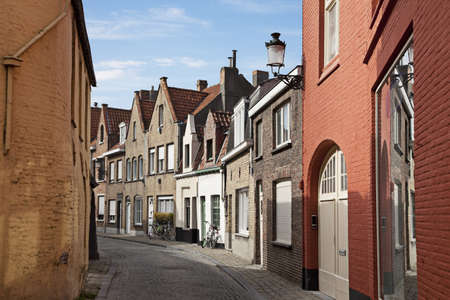 narrow: A typical narrow streets of Brugge, Belgium  Stock Photo
