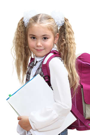 book bag: Elementary school age girl on a white background