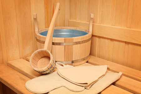 steam room: Still life of a steam bath room accessories  Stock Photo