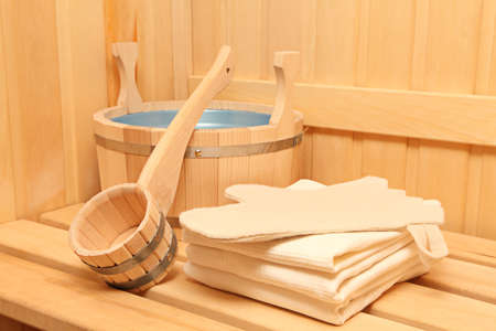 sauna: Still life of a steam bath room accessories  Stock Photo