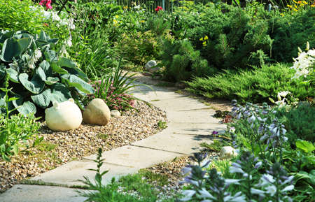 lawn area: A stone walkway winding its way through a tranquil garden