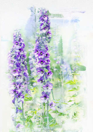 Illustration of watercolor delphinium on a vintage background