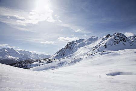 유럽 알프스의 겨울 풍경입니다. 보르 미오, 이탈리아 스톡 콘텐츠