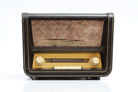 Vintage radio isolated on white with little reflection Stock Photo - 11076278