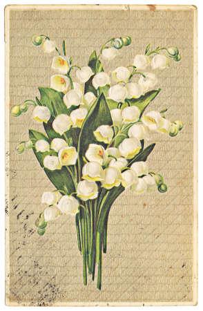vintage postkaart met illustratie van lelie van de vallei Stockfoto