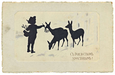 caribou: Greeting post card for Christmas best wishes. Circa 1900, Russia