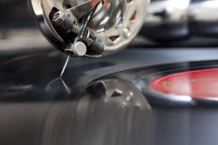 phonograph: Close-up at record being played on a old gramophone Stock Photo