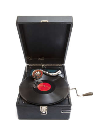 phonograph: Top view at vintage gramophone player with record