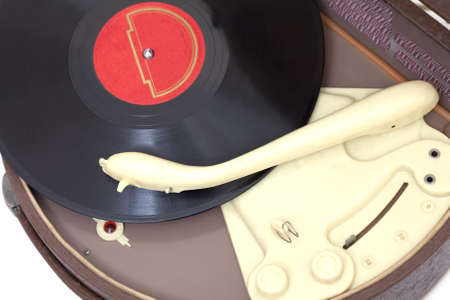 turntables: Top view at vintage record player with vinyl record