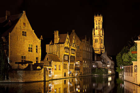 belfort: Bruges canal with Belfort tower at night, Belgium