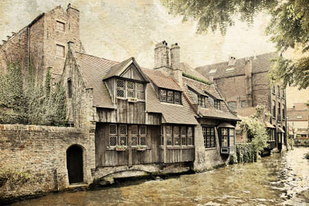 brugge: Cityscape of Bruges canals, Belgium. Made in artistic vintage style with texture