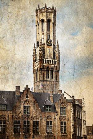 belfort: Belfort, a medieval belfry tower in Bruges, Belgium.  Made in artistic vintage style with texture