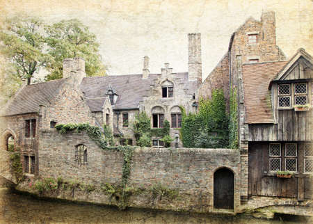 brugge: Cityscape of Bruges,  Belgium. Made in artistic vintage style with texture