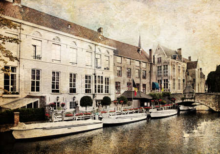 made in belgium: Cityscape of Bruges canals, Belgium. Made in artistic vintage style with texture
