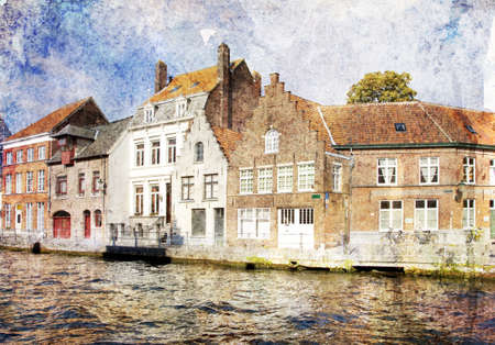 brugge: Cityscape of Bruges canals, Belgium. Artistic watercolor style with texture
