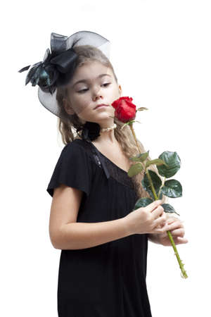 girl in red dress: Little girl with a rose. Isolated on white