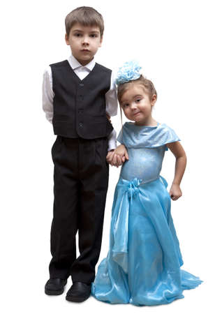 kids dress: Kids playing dress up, isolated on a white background Stock Photo